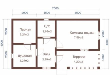 Проект Бани из СИП панелей 4х7
