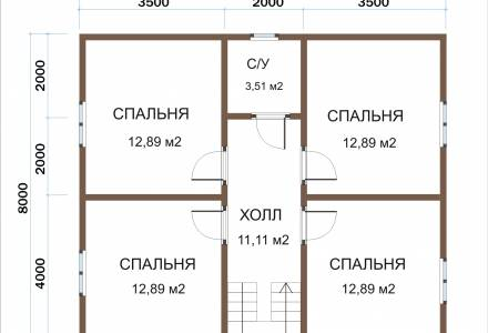 Каркасный дом 9х11 с террасой