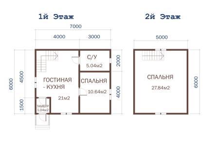Дачный дом 7х6 с крыльцом