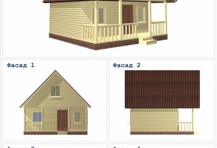Проект каркасного дома 6х6 с террасой