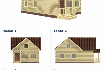 Проект каркасного дома 6х9 с крыльцом