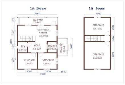 Проект каркасного дома 6х9,5 с крыльцом