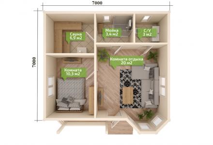 Проект каркасного дома-бани ЭЛЛИН