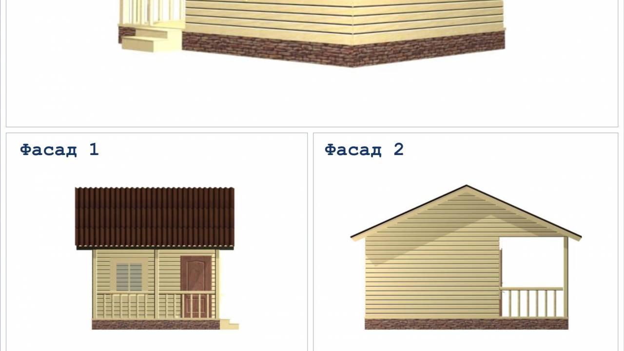 Проект Бани из бруса 4х6 с террасой