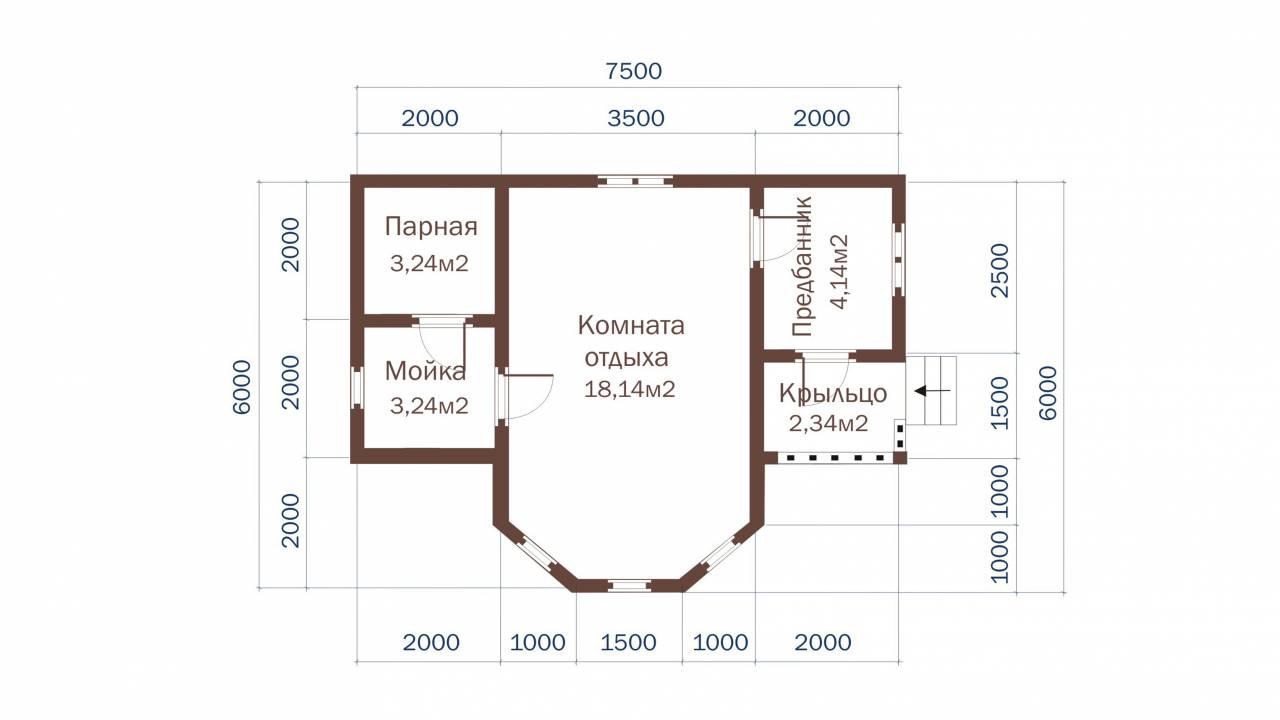 Проект БАНИ из СИП панелей 7х6 с эркером