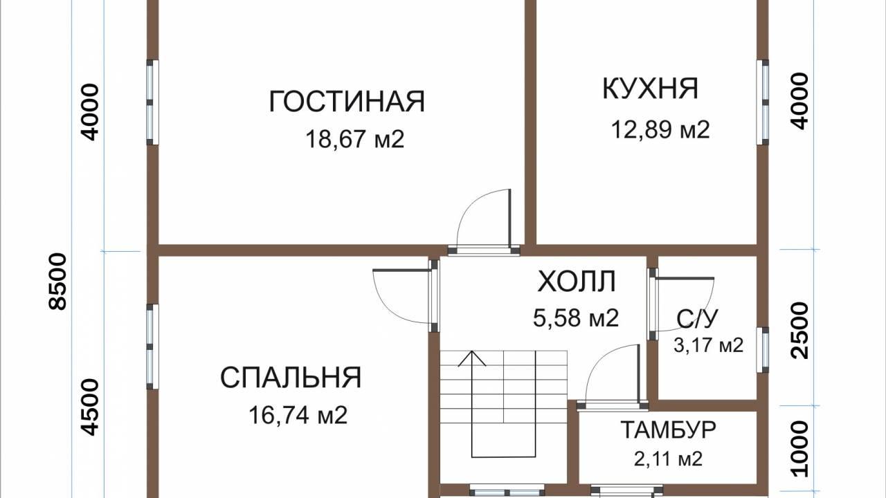 Каркасный дом 8х9