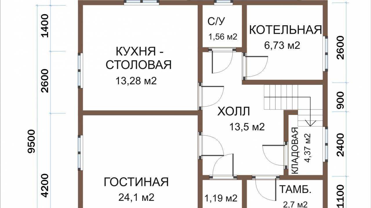 Каркасный дом 8,5х11