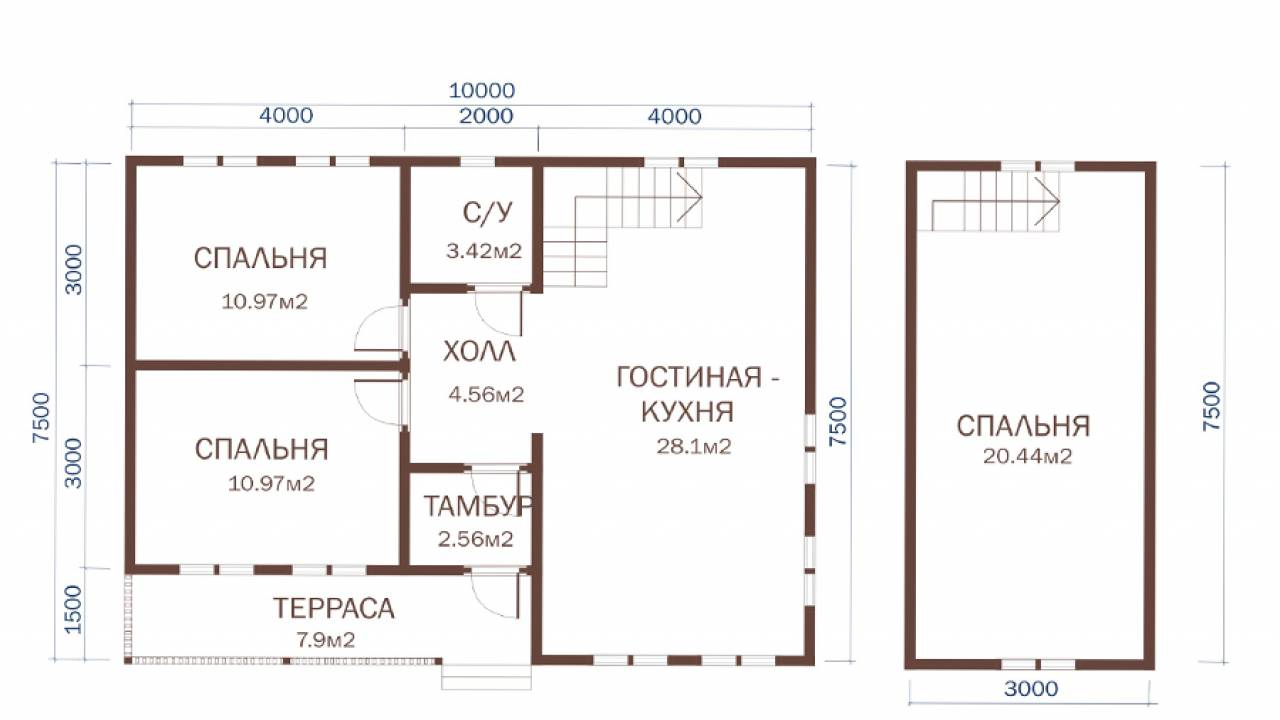 Дачный дом 10х7,5