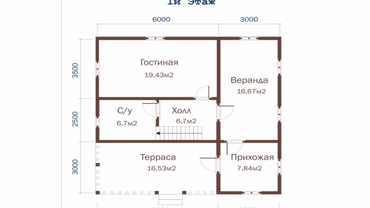 Дачный дом 9х9