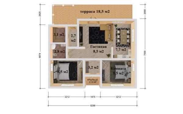 Проект дома из СИП панелей БРИЗ