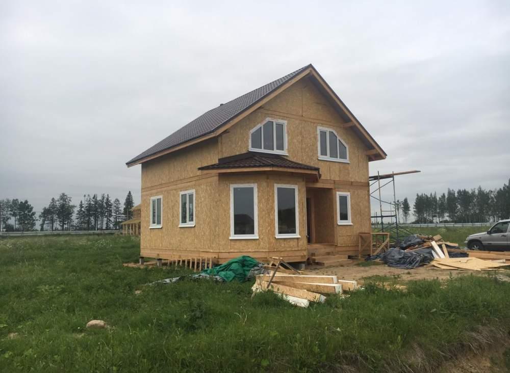 Строительство дома из СИП панелей по проекту «Мерлен», в  п. Новокондакопшино Ленинградской области