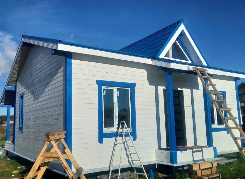 Строительство каркасного одноэтажного дома в д. Салми, по типовому проекту «Бриз».