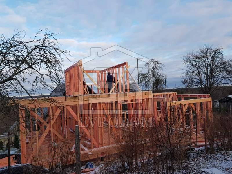 Строительство каркасного дома по индивидуальному проекту в Лембовало Ленинградской области.