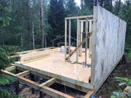 Строительство бани из СИП панелей Гринборд в ДНП «Зеленая Роща»